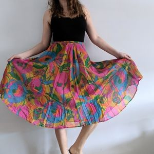 1970's Groovy Floral High Waist Circle Skirt